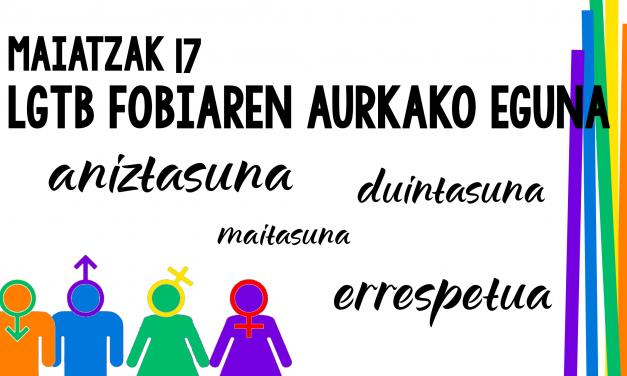17 de  Mayo. Día internacional contra la Homofobia, Lesbofobia, Transfobia y Bifobia.